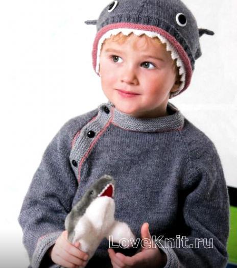 Как связать  детский джемпер и шапочка  «акула»