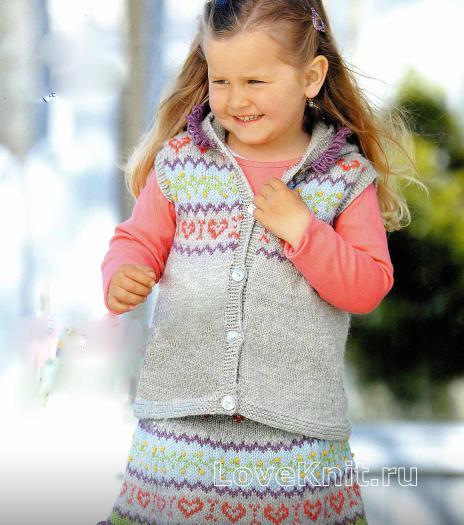 Как связать  детский костюм для девочки 2, 4, 6, 8 лет (юбка и жилет)