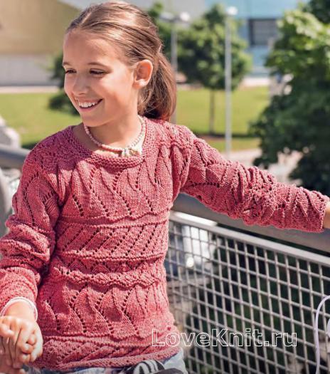 Как связать  детский пуловер с ажурными узорами