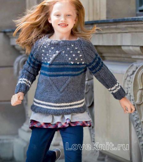 Как связать  детский пуловер с контрастными полосами