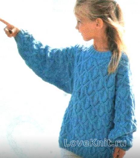 Как связать  детский пуловер с объемным узором из кос