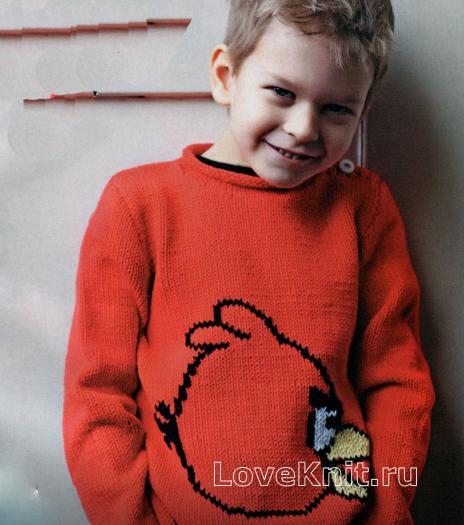 Как связать  детский пуловер с рисунком angry bird