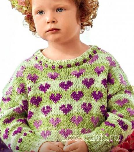Как связать  детский пуловер с узором сердечки