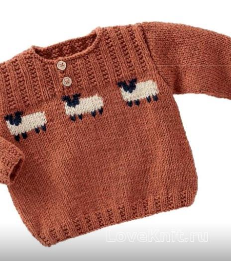 Как связать  детский пуловер с жаккардовым рисунком