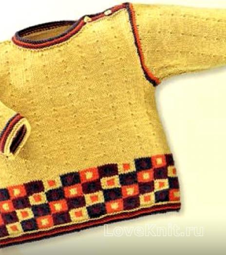 Как связать  детский свитер, шапочка и шарф с цветным шахматным узором