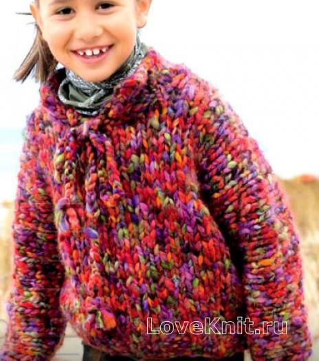 Как связать  детский свободный пуловер из меланжевой пряжи