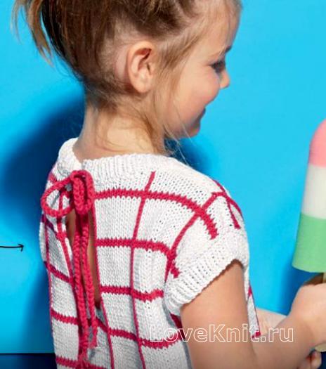 Как связать  детский топ с вырезом на спине