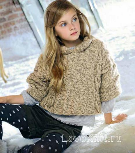 Как связать  детский укороченный пуловер