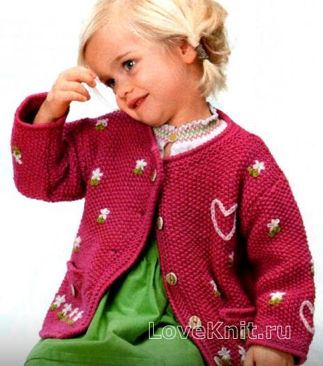 Как связать  детский жакет с цветами