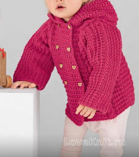 Как связать  детский жакет с капюшоном с двумя рядами пуговиц