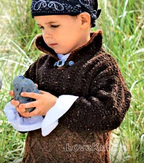 Как связать  двухцветный детский пуловер
