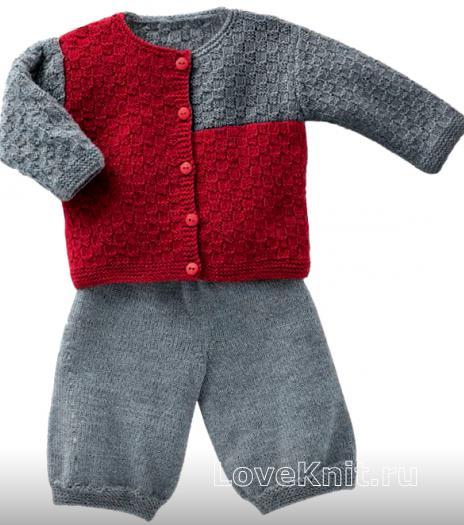 Как связать  двухцветный жакет и штаны для малыша
