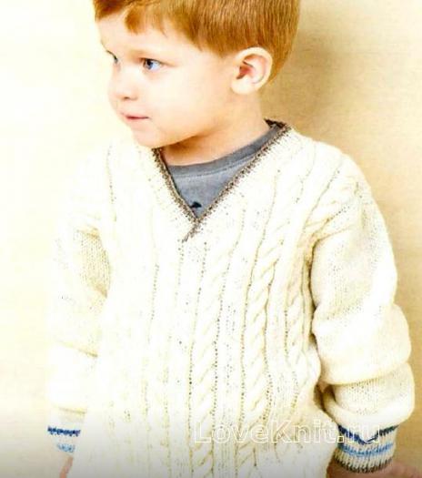 Как связать  джемпер для мальчика с v-образной горловиной