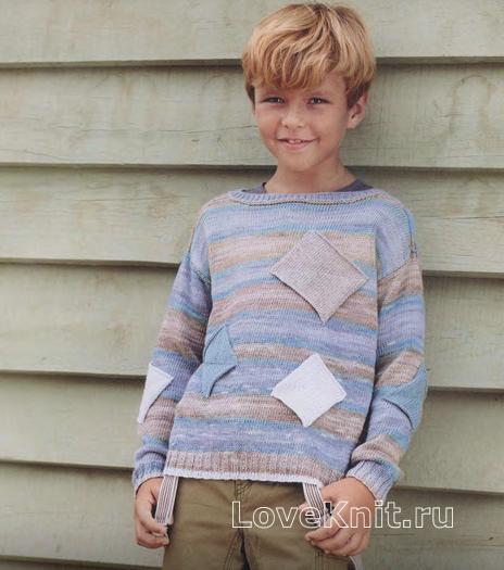 Как связать  джемпер для мальчика с вязаными квадратами