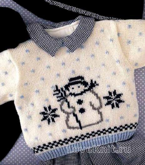 Как связать  джемпер для ребенка со снеговиком