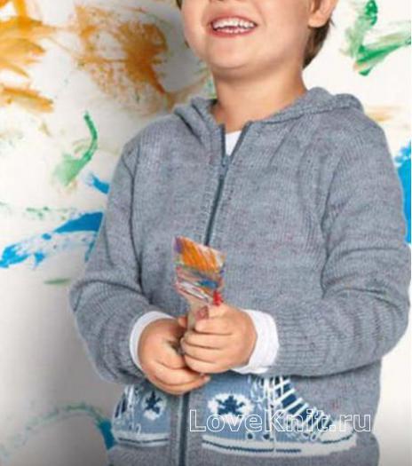 Как связать  худи для мальчика с цветным узором на карманах
