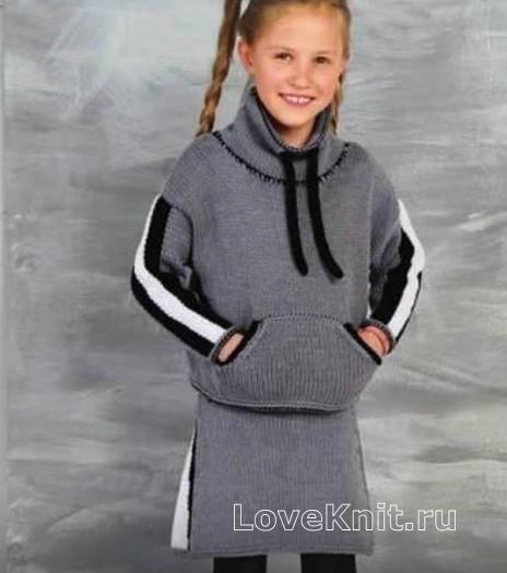 Как связать  худи и юбочка в спортивном стиле для девочки