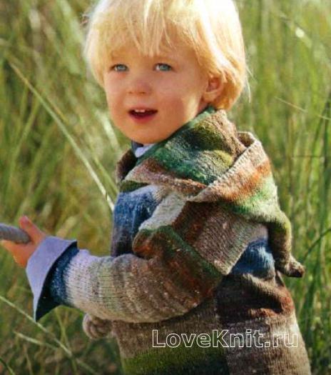 Как связать  кофта для ребенка с остроконечным капюшоном