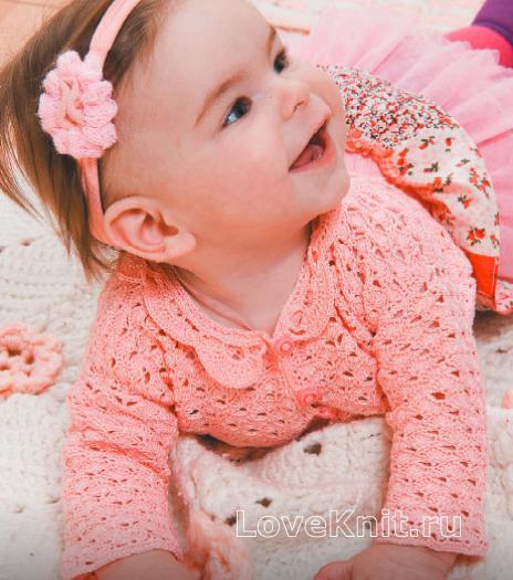 Как связать  кофта на пуговицах для малыша