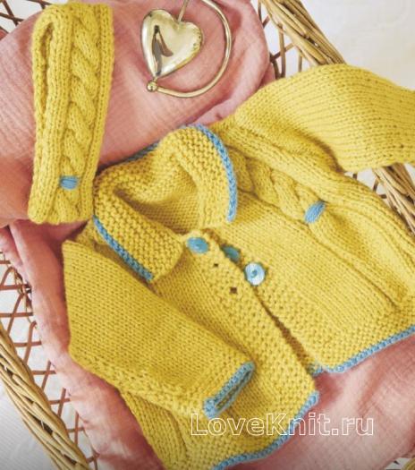 Как связать  комплект из расклешенной кофты для девочки и повязки для головы