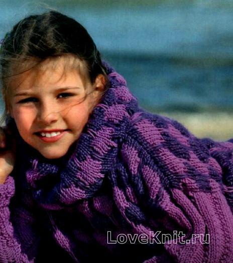 Как связать  объемный цветной джемпер и шарф-петля для ребенка