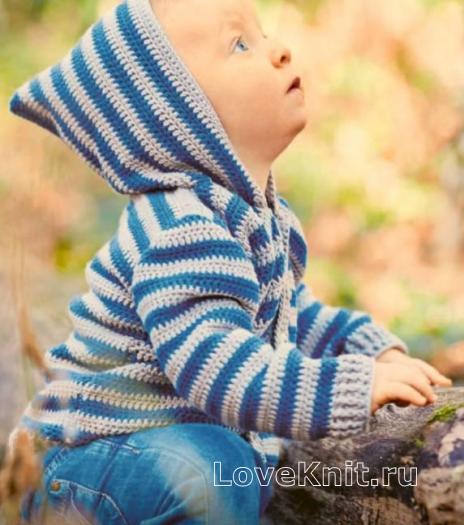 Как связать  полосатая кофта с капюшоном для ребенка