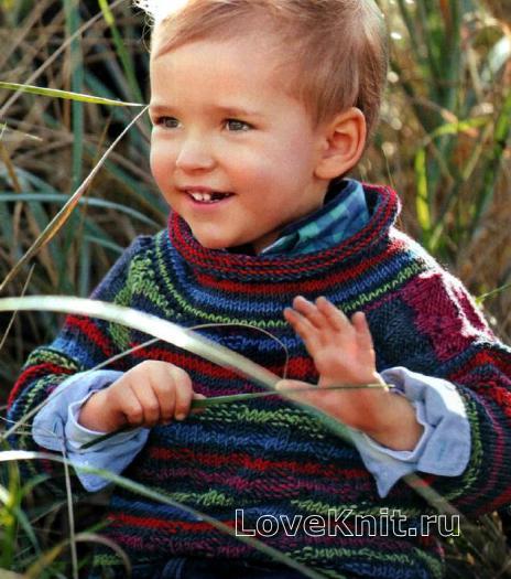 Как связать  полосатый джемпер для ребенка с воротником-гольф