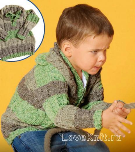 Как связать  полосатый джемпер с капюшоном для мальчика
