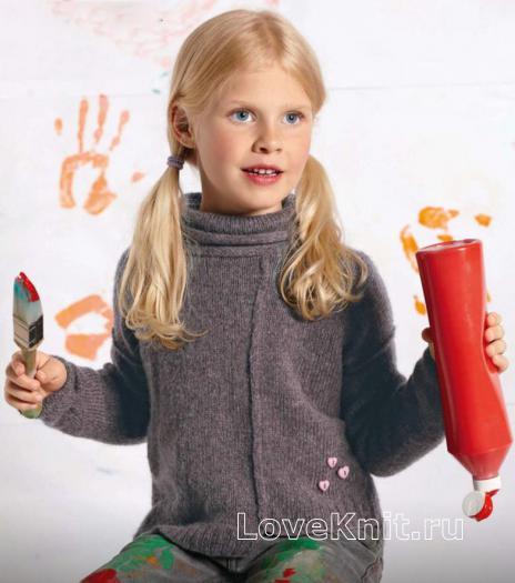 Как связать  пуловер со швами наружу для маленькой модницы