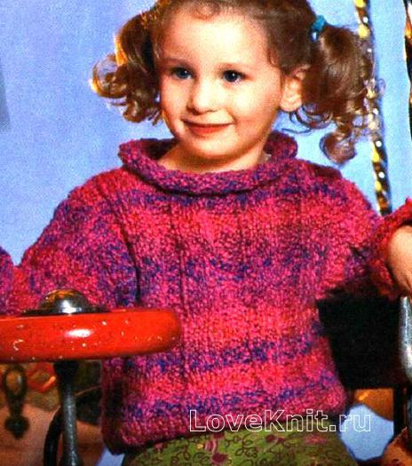 Как связать  разноцветный детский пуловер