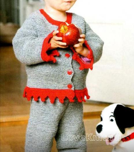 Как связать  штаны и жакет для ребенка с красной окантовкой