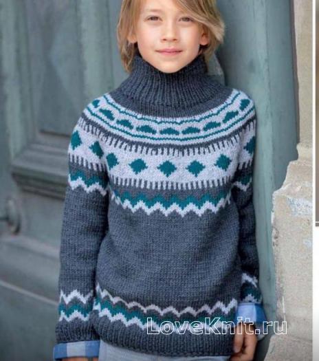 Как связать  свитер для мальчика с жаккардовой кокеткой