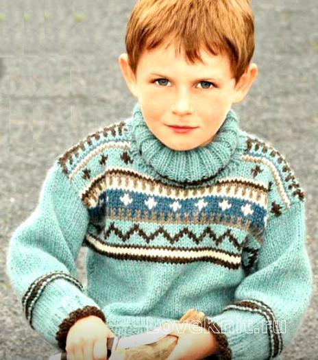 Как связать  свитер с норвежским узором для мальчиков