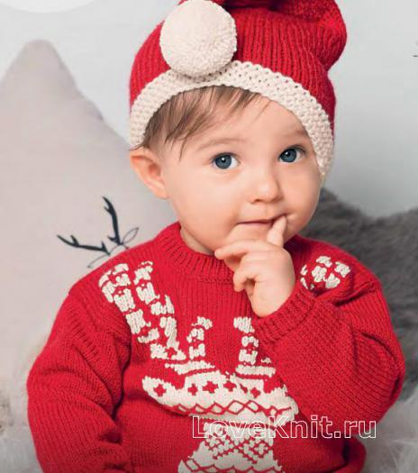 Как связать  свитер с оленем для ребенка