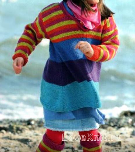 Как связать  туника в полоску и гетры для девочки