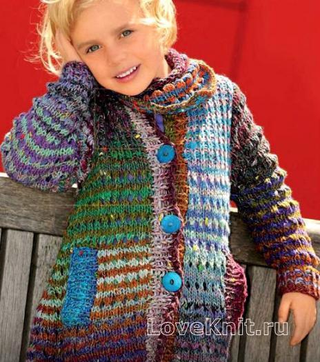 Как связать  удлиненный цветной жакет для ребенка и платок на шею