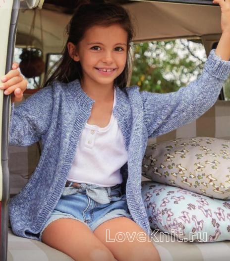 Как связать  удлиненный жакет для девочки без застежек