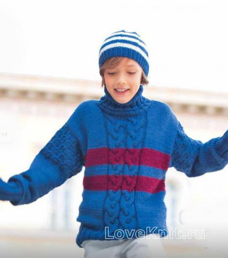 Как связать  узорчатый свитер с полосами для мальчика