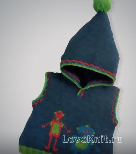 Как связать  вышитая безрукавка с капюшоном для малыша