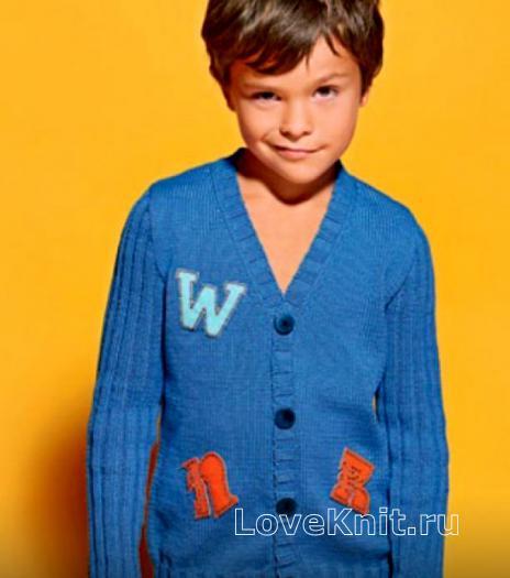 Как связать  жакет для мальчика с v-образным вырезом