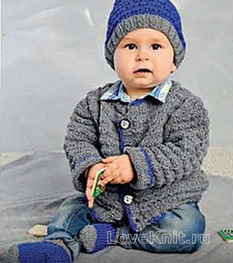 Как связать  жакет для малыша, шапочка и носочки с контрастной отделкой