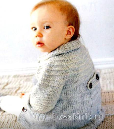 Как связать  жакет с накладными карманами для ребенка