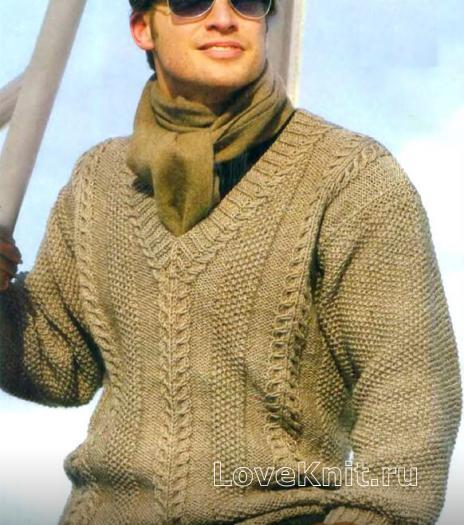 Связать мужской пуловер схема фото 270