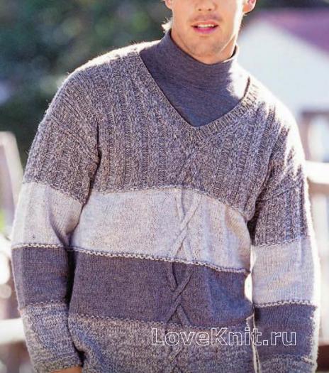 Как связать для мужчин мужской джемпер с широкими цветными полосами