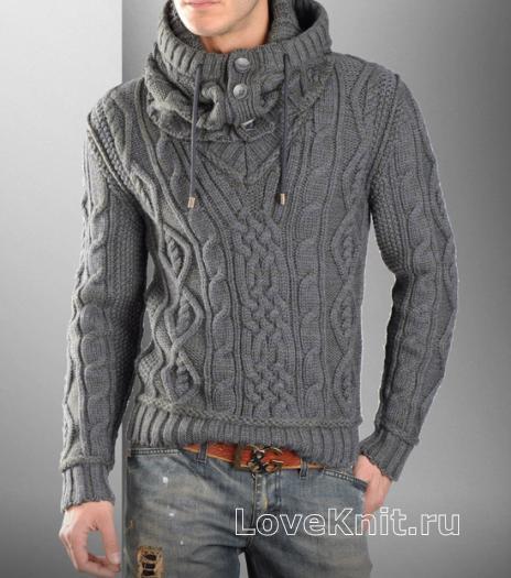 Как связать для мужчин мужской пуловер с косами и снуд