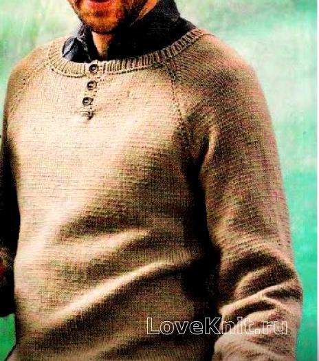 Как связать кофты мужской пуловер с пуговками