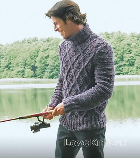 """Как связать для мужчин мужской пуловер с узором """"ромбы"""""""