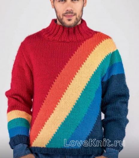 Как связать для мужчин мужской пуловер в контрастную полоску