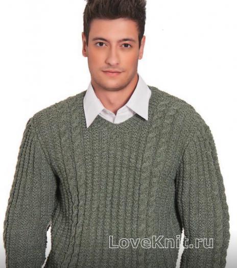 Как связать для мужчин мужской пуловер с вертикальными полосами