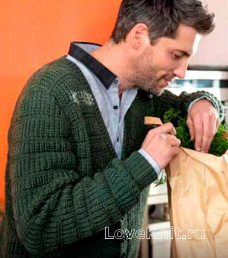 Как связать для мужчин мужской жакет с рельефным узором
